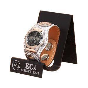 腕時計 革 ケイシーズ(KCs) エキゾチック ナチュラル スリーコンチョマット ウォッチブレス KPR501A|nomado1230