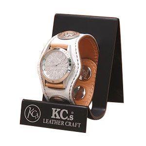 腕時計 ケイシーズ(KCs) エキゾチック スリーコンチョ ホワイト ウォッチブレス スムース オーストリッチ KPR502C|nomado1230