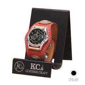 腕時計 ケイシーズ(KCs) エキゾチック スリーコンチョ ブラック ウォッチブレス スムース オーストリッチ KPR502A|nomado1230