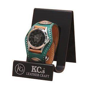 腕時計 ケイシーズ(KCs) エキゾチック スリーコンチョ グリーン ウォッチブレス スムース オーストリッチ KPR502D|nomado1230