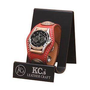 腕時計 ケイシーズ(KCs) エキゾチック スリーコンチョ レッド ウォッチブレス スムース オーストリッチ KPR502B|nomado1230