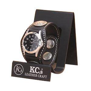 腕時計 革 ケイシーズ(KCs) カービング スリーコンチョ ブラック ウォッチブレス フリー カット KPR503D|nomado1230
