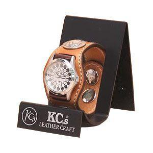 腕時計 革 ケイシーズ(KCs) カービング スリーコンチョ アーモンド ウォッチブレス フリー カット KPR503B|nomado1230