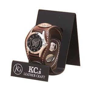 腕時計 革 ケイシーズ(KCs) カービング スリーコンチョ モカ ウォッチブレス フリー カット KPR503C|nomado1230