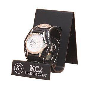 腕時計 革 ケイシーズ(KCs) スタンプ スリーコンチョ ブラック ウォッチブレス バスケット KPR504D|nomado1230