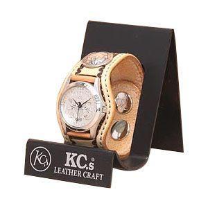 腕時計 革 ケイシーズ(KCs) スタンプ スリーコンチョ サドル ウォッチブレス バスケット KPR504A|nomado1230