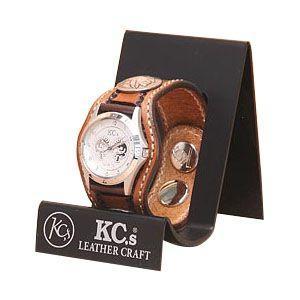腕時計 革 ケイシーズ(KCs) スタンプ スリーコンチョ アーモンド ウォッチブレス バスケット KPR504B|nomado1230