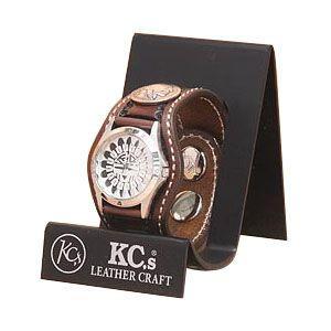 腕時計 革 ケイシーズ(KCs) スタンプ スリーコンチョ モカ ウォッチブレス バスケット KPR504C|nomado1230