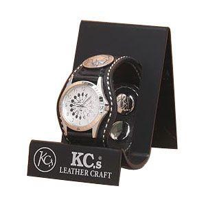 腕時計 革 ケイシーズ(KCs) クラフト スリー コンチョ ブラック ウォッチブレス バスケット KPR505D|nomado1230