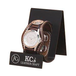 腕時計 革 ケイシーズ(KCs) クラフト スリー コンチョ モカ ウォッチブレス バスケット KPR505C|nomado1230