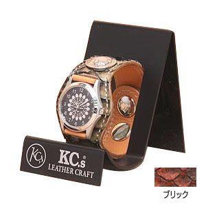 腕時計 革 ケイシーズ(KCs) エキゾチック スリーコンチョ ブリック ウォッチブレス ラッセル KPR508C|nomado1230