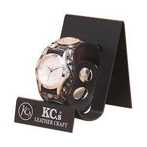 腕時計 革 ケイシーズ(KCs) エキゾチック スリーコンチョ グレー ウォッチブレス ラッセル KPR508B|nomado1230