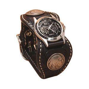 腕時計 革 ケイシーズ(KCs) カービング エスパニューラ ブラック ウォッチブレス フリー カット KPR512D|nomado1230
