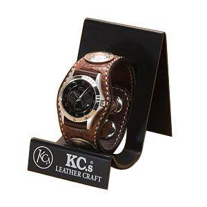 腕時計 革 ケイシーズ(KCs) エキゾチック スリーコンチョ ブラウン ウォッチブレス バッファロー KPR522A|nomado1230