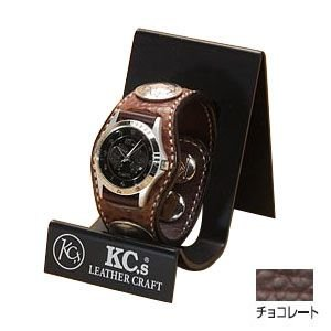 腕時計 革 ケイシーズ(KCs) エキゾチック スリーコンチョ チョコレート ウォッチブレス バッファロー KPR522B nomado1230