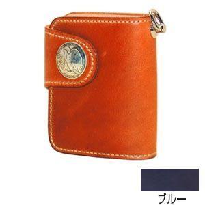 メンズ財布 革 名入れ ケイシーズ(KCs) エキゾチック ハリス ブルー コードバン ビルフォード KSB511G|nomado1230