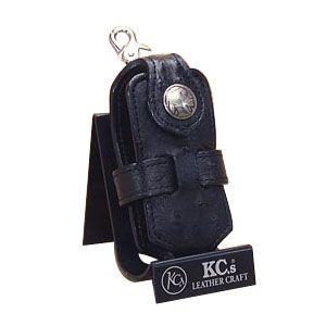 携帯ケース 革 名入れ ケイシーズ(KCs) エキゾチック オーストリッチ ブラック クロス 携帯電話ケース ツー KSE010BK|nomado1230
