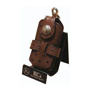 携帯ケース 革 名入れ ケイシーズ(KCs) エキゾチック オーストリッチ カンゴタバック クロス 携帯電話ケース ツー KSE010KG|nomado1230