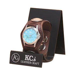 腕時計 革 ケイシーズ(KCs) プレーン スリー コンチョ ブラウン ウォッチブレス KSR501B|nomado1230