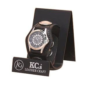 腕時計 革 ケイシーズ(KCs) プレーン スリー コンチョ ブラック ウォッチブレス KSR501C|nomado1230