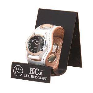 腕時計 革 ケイシーズ(KCs) プレーン スリー コンチョ ホワイト ウォッチブレス KSR001WH|nomado1230