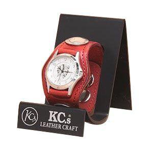 腕時計 革 ケイシーズ(KCs) プレーン スリー コンチョ レッド ウォッチブレス KSR501D nomado1230