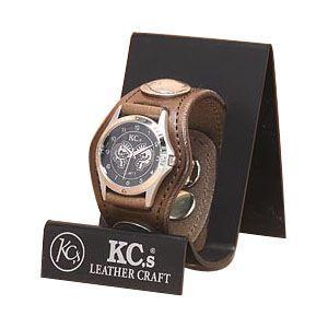 腕時計 革 ケイシーズ(KCs) プレーン スリー コンチョ カーキ ウォッチブレス KSR001KK|nomado1230