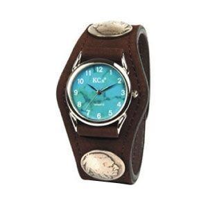 腕時計 革 ケイシーズ(KCs) エキゾチック スリーコンチョ ブラウン ウォッチブレス ヌバック KSR502H|nomado1230