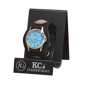 腕時計 革 ケイシーズ(KCs) エキゾチック スリーコンチョ ブラック ウォッチブレス ヌバック KSR502I|nomado1230