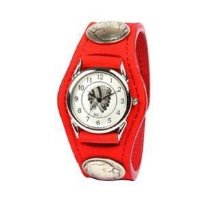 腕時計 革 ケイシーズ(KCs) エキゾチック スリーコンチョ レッド ウォッチブレス ヌバック KSR502D|nomado1230