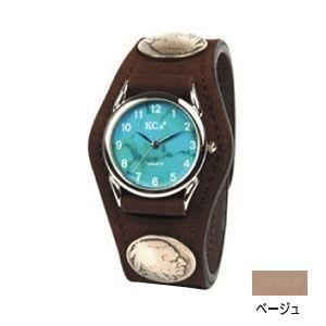 腕時計 革 ケイシーズ(KCs) エキゾチック スリーコンチョ ベージュ ウォッチブレス ヌバック KSR502A|nomado1230