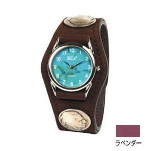 腕時計 革 ケイシーズ(KCs) エキゾチック スリーコンチョ ラベンダー ウォッチブレス ヌバック KSR502C|nomado1230