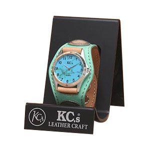 腕時計 革 ケイシーズ(KCs) エキゾチック スリーコンチョ エメラルド ウォッチブレス ヌバック KSR502E|nomado1230