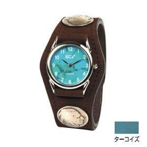 腕時計 革 ケイシーズ(KCs) エキゾチック スリーコンチョ ターコイズ ウォッチブレス ヌバック KSR502G|nomado1230