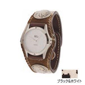 腕時計 革 ケイシーズ(KCs) スリーコンチョ ブラック&ホワイト ウォッチブレス アンボーン KSR503B nomado1230