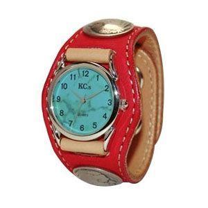 腕時計 革 ケイシーズ(KCs) エキゾチック スリーコンチョ レッド ウォッチブレス ディア KSR004RD nomado1230