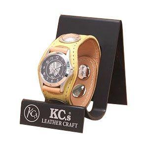腕時計 革 ケイシーズ(KCs) エキゾチック スリーコンチョ イエロー ウォッチブレス ディア KSR004YL nomado1230