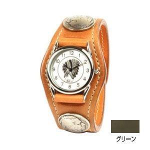 腕時計 革 ケイシーズ(KCs) エキゾチック スリーコンチョ グリーン ウォッチブレス コードバン KSR505F|nomado1230