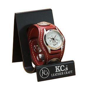 腕時計 革 ケイシーズ(KCs) エキゾチック スリーコンチョ レッド ウォッチブレス コードバン KSR505D|nomado1230