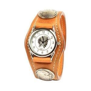 腕時計 革 ケイシーズ(KCs) エキゾチック スリーコンチョ タン ウォッチブレス コードバン KSR505A|nomado1230