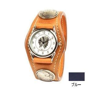 腕時計 革 ケイシーズ(KCs) エキゾチック スリーコンチョ ブルー ウォッチブレス コードバン KSR505G|nomado1230