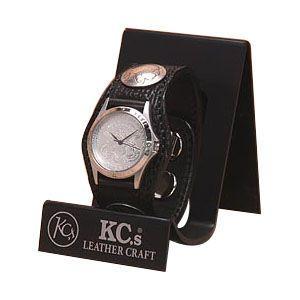 腕時計 革 ケイシーズ(KCs) エキゾチック スリーコンチョ ブラック ウォッチブレス シャーク KSR506B|nomado1230