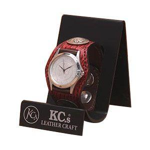 腕時計 革 ケイシーズ(KCs) エキゾチック スリーコンチョ レッド ウォッチブレス シャーク KSR006RD nomado1230