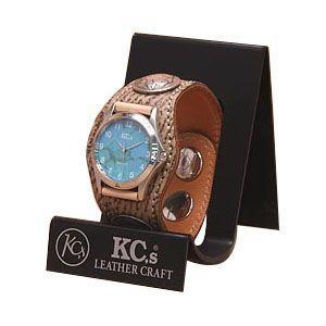 腕時計 革 ケイシーズ(KCs) エキゾチック スリーコンチョ ベージュ ウォッチブレス シャーク KSR006BG nomado1230