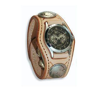 腕時計 革 ケイシーズ(KCs) スタンプ・ツー スリーコンチョ タン ウォッチブレス KSR507A|nomado1230