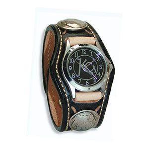 腕時計 革 ケイシーズ(KCs) スタンプ・ツー スリーコンチョ ブラック ウォッチブレス KSR507C|nomado1230