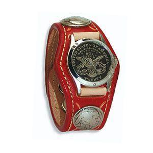 腕時計 革 ケイシーズ(KCs) スタンプ・ツー スリーコンチョ レッド ウォッチブレス KSR507D|nomado1230