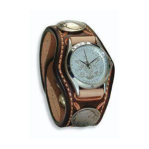 腕時計 革 ケイシーズ(KCs) スタンプ・ツー スリーコンチョ ブラウン ウォッチブレス KSR507B|nomado1230