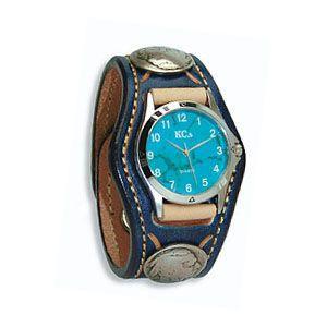 腕時計 革 ケイシーズ(KCs) スタンプ・ツー スリーコンチョ ネイビー ウォッチブレス KSR507F|nomado1230