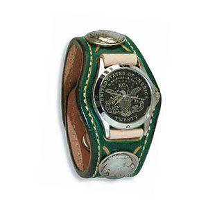 腕時計 革 ケイシーズ(KCs) スタンプ・ツー スリーコンチョ グリーン ウォッチブレス KSR507E|nomado1230